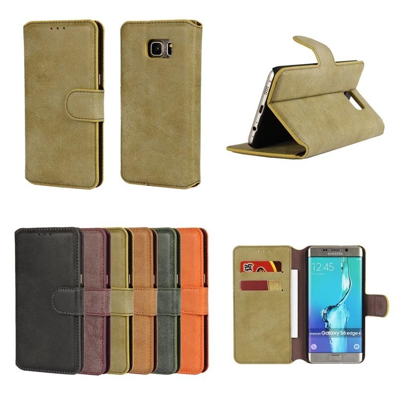 Galleria fotografica For Samsung Galaxy S6 Edge Plus S7 Edge Case Cover Wallet Matte Flip Etui Coque Capinhas Para For Galaxy S7 S6 Edge Hoesje Funda