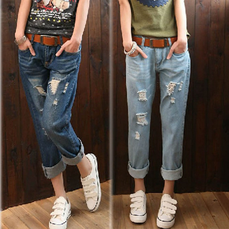 wholesale and large code Haren pants female summer nine points to break the hole and the depth of female jeans 688 gemqz d1813 quartz points large cluster plate mangano spots