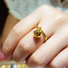 Hot sale  Pure 999 24K Yellow Gold Ring Women 3D Special Bell Design Ring