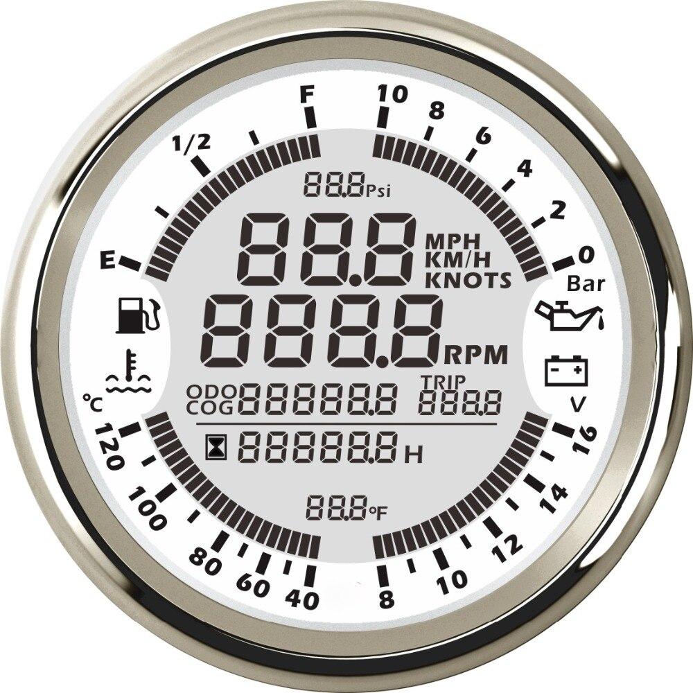 New 6 in 1 Multi functional Gauge Meter Car Boat 85mm GPS Speedometer Truck Boat Digital LCD Speed Gauge Tachometer 0 10Bar-in Speedometers from Automobiles & Motorcycles    1