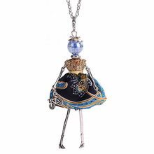 YLWHJJ brand new girl blue doll pendant long necklace dress female alloy fashion handmade maxi jewelry for women collier femme