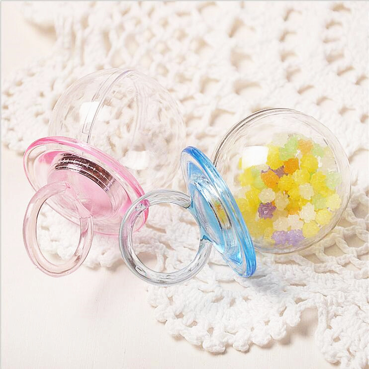 60Pcs/lot Transparent Plastic Baby Pacifier Shape Candy Boxes Case Storage Container Clear-in Gift Bags & Wrapping Supplies from Home & Garden    2