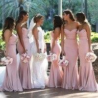 Русалки длинное розовое платья подружек невесты 2019 Милая атласные вечерние платья Свадебные праздничные платья