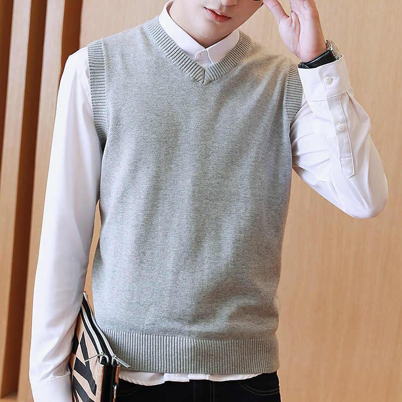 럭스 ANGNER 남자 100% 코튼 솔리드 스웨터 V 목 캐주얼 남성 조끼 스웨터 남성 풀오버 니트 민소매 스웨터 M-3XL