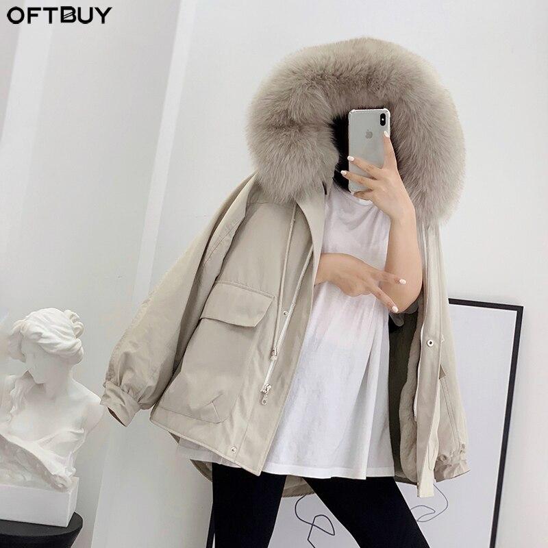 OFTBUY 2019 Real Fur Coat Winter Jacket Women Natural Fox Fur Collar Hood Rex Rabbit Fur Lining Detachable Outerwear Streetwear