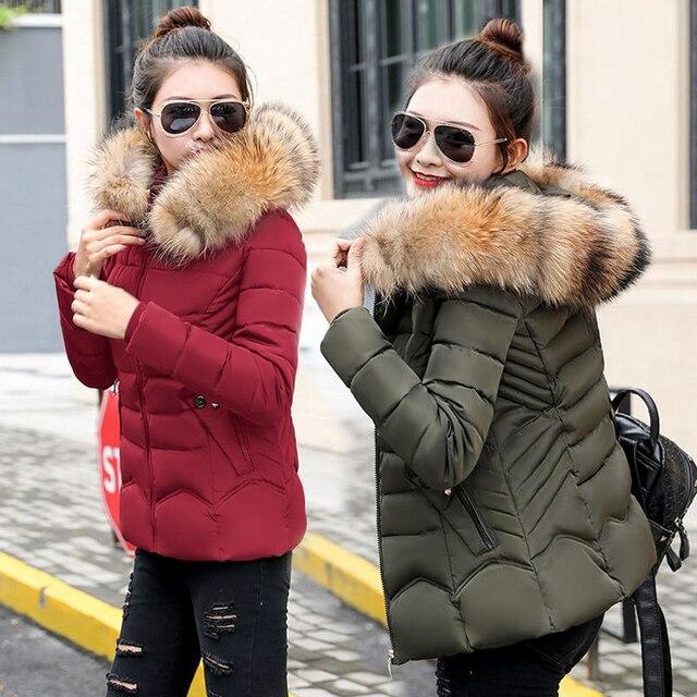 7965a61e0a2a9 Aliexpress.com   Buy Winter Jacket women 2018 warm Winter Coat Women Fake  Fur Hooded Down Jacket Women Parkas Slim Female Short outerwear from  Reliable ...