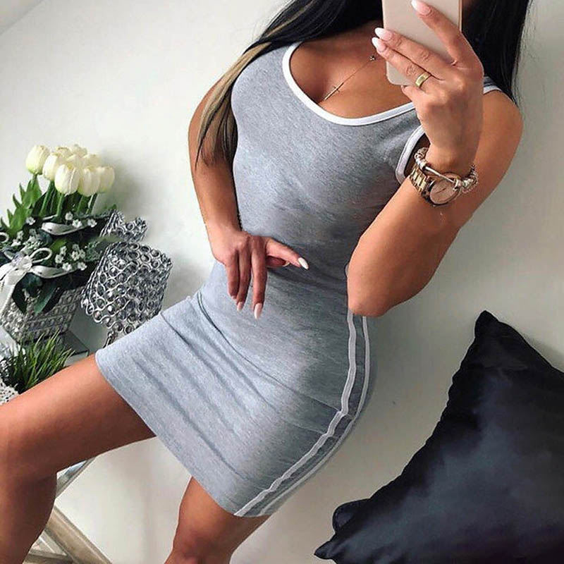 Summer Package Hip Dress Women Solid Knitted Sexy Dress Casual O-neck Sleeveless Bodycon Dress
