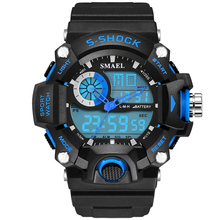 2018 Mens Watch Men Sports Watches SMAEL Electronic Led Sport Wristwatch Digital Male Clock 1385 S Shock Military