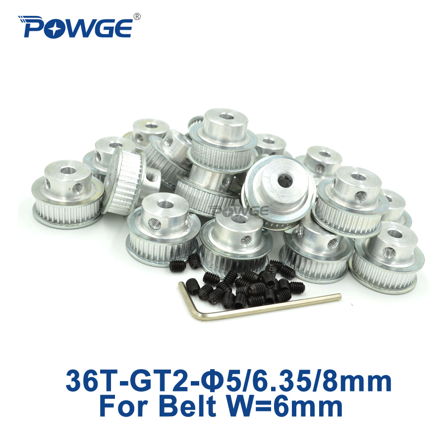 POWGE 50pcs GT2 Timing Pulley 36 teeth Bore 5mm 6 35mm 8mm for width 6mm GT2