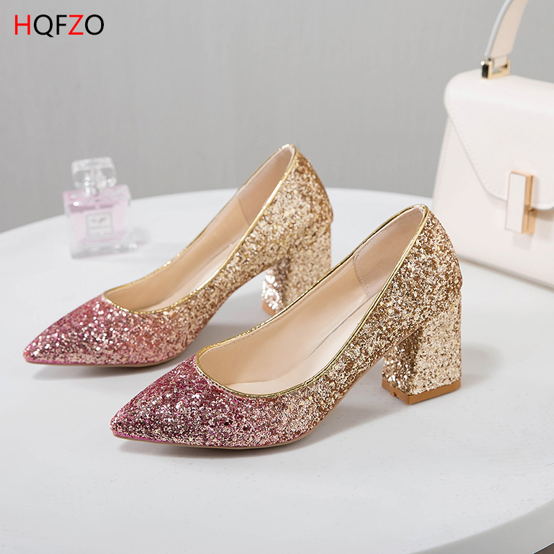 HQFZO Women's High Heels Pumps Sexy Bling Bride Shoes Jumps Block Heels Female Shoes Wedding Shoes Gold Sliver Pink Tacos Mujer