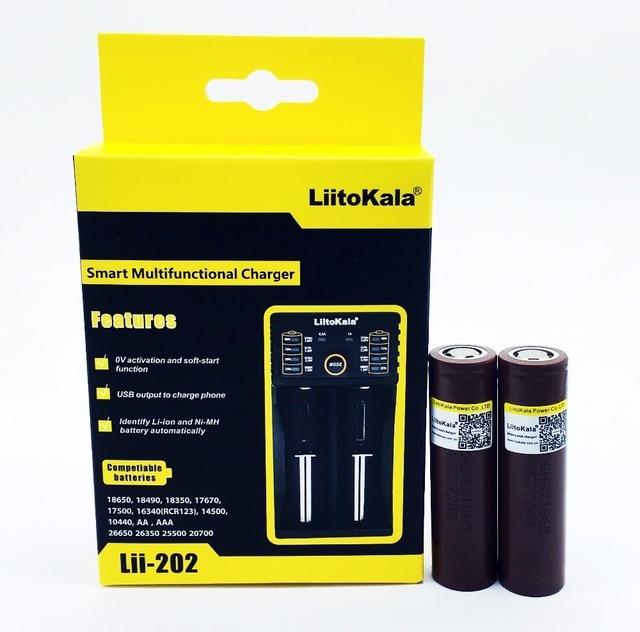 2 ADET Liitokala 18650 3.7 V 3000 mah HG2 Lityum Pil koruma levhası Uygun pil + Lii 202 Şarj Cihazı