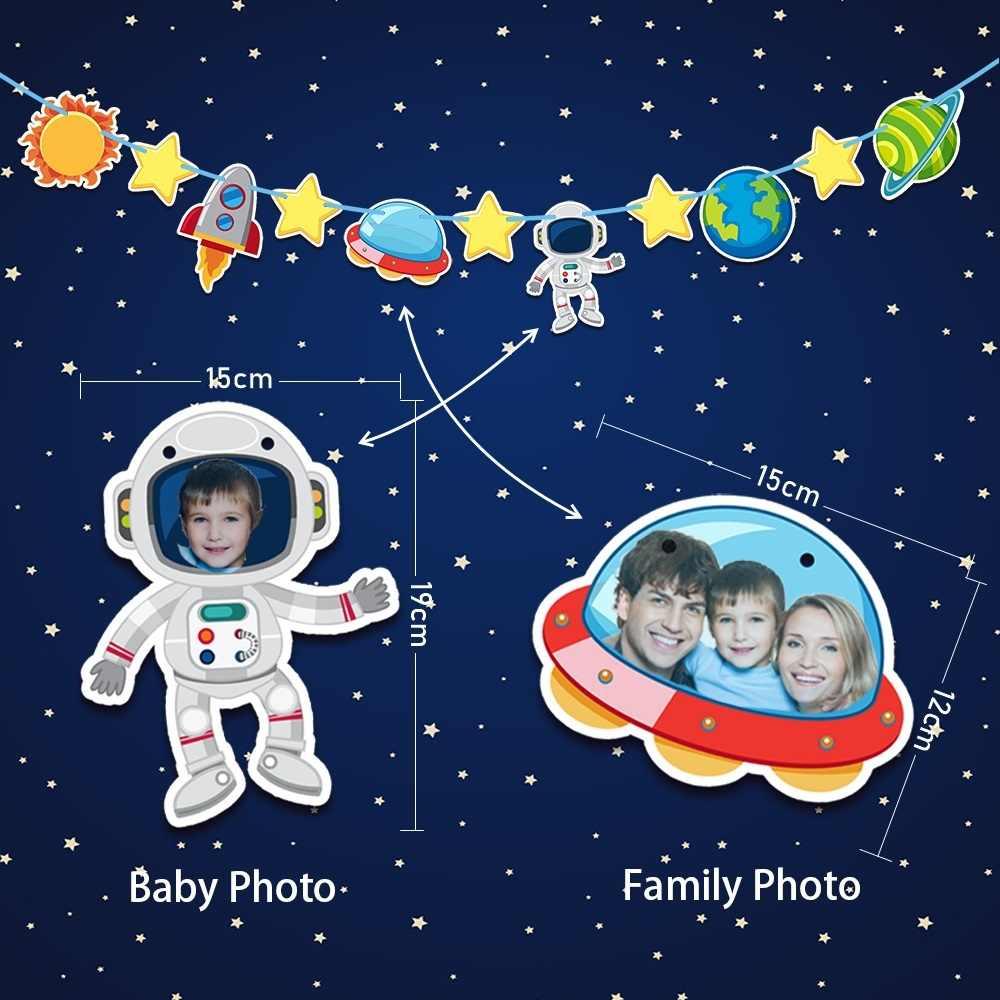 50 шт. для 12 мальчиков астронавт Солнечная космическая тема День Рождения принадлежности Набор посуды, тарелка + стекло + солома + баннер + подарочная коробка