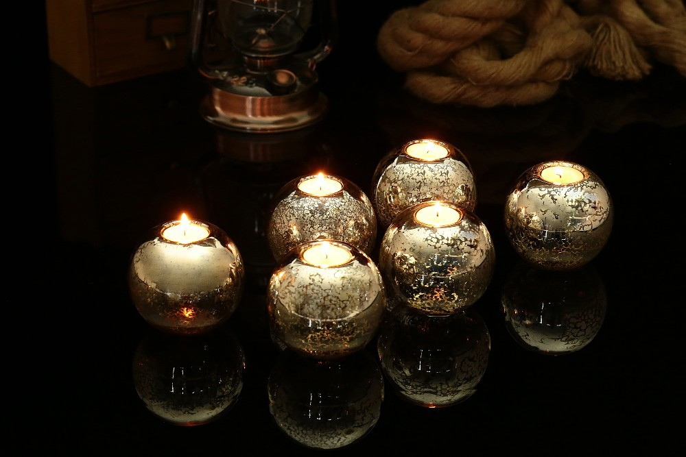 Dia10cm Mercury Silver Glass Round Tealight Candle holder Wedding Event Party