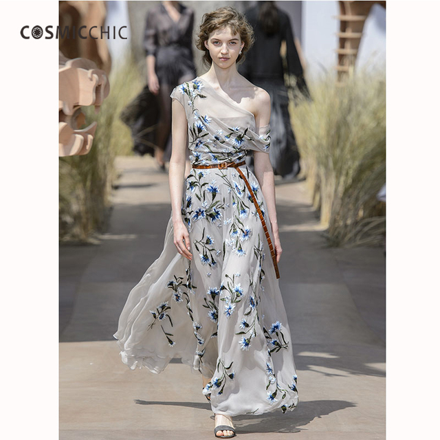 1396f50c170b Cosmicchic Haute Couture Runway Maxi Dress Elegant Off Shoulder Irregular  Dress Tulle Gauze Floral Embroidery Long Dresses LY247