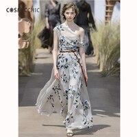 Cosmicchic Haute Couture Pist Maxi Elbise Zarif Off Omuz Düzensiz Elbise Tül Tül Çiçek Nakış Uzun Elbiseler LY247