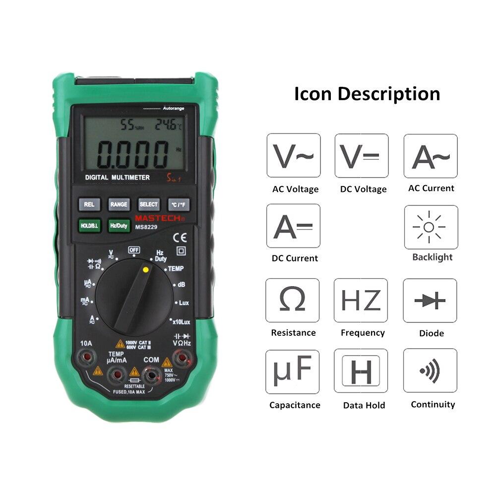 Mastech MS8229 5 in1 Авто Диапазон Цифровой мультиметр Многофункциональный Lux Уровень звукового Температура Влажность метр тестер