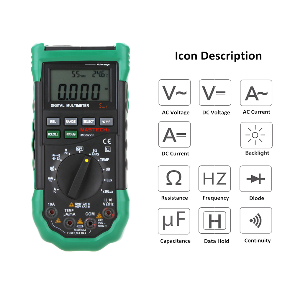 Mastech MS8229 5 in1 Auto range Digital Multimeter Multifunction Lux Sound Level Temperature Humidity Tester Meter 10pcs lot mp2307dn lf z mp2307dn mp2307 3a 23v 340khz synchronous rectified step down converter