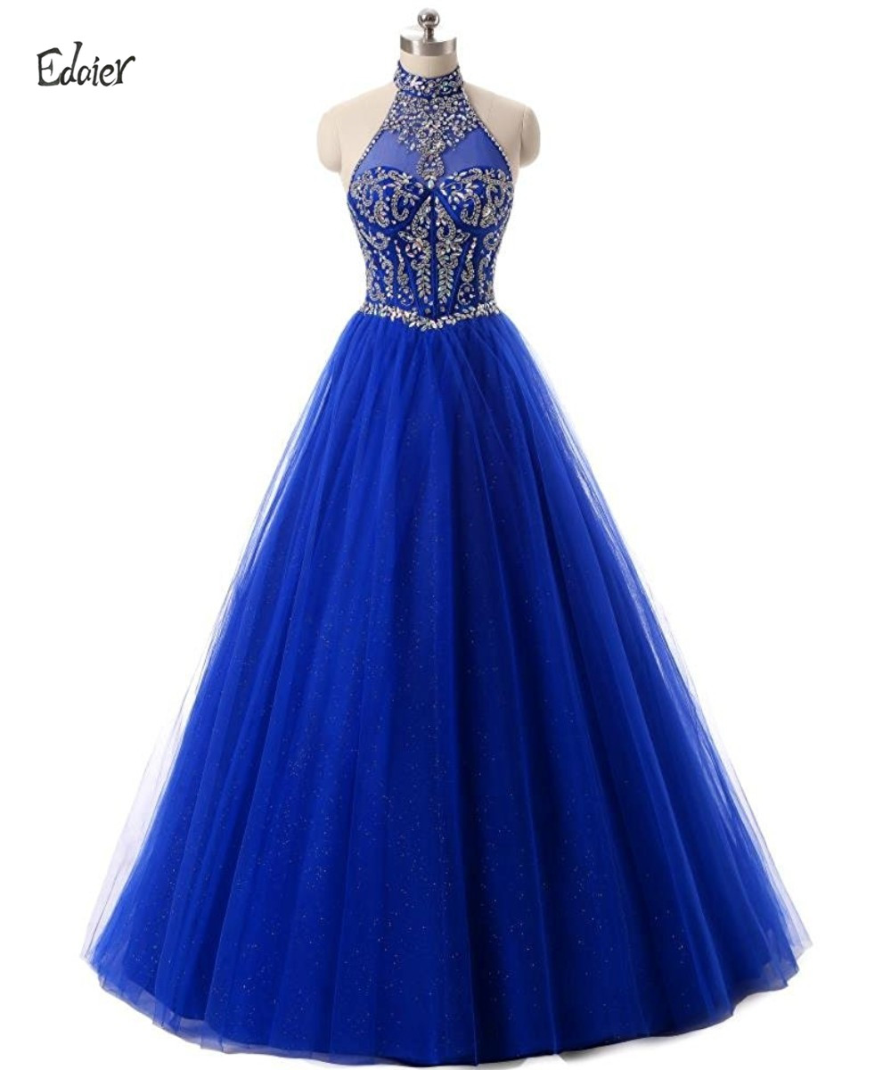 Edaier Tulle Beaded Ball Gown Modest Crystals Prom Dresses
