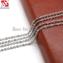 2.3MM Width 18+2 extension (50cm) 316L Stainless Steel Silver/Gold/Rose Gold/Black Flat Oval Chain For Necklace Locket
