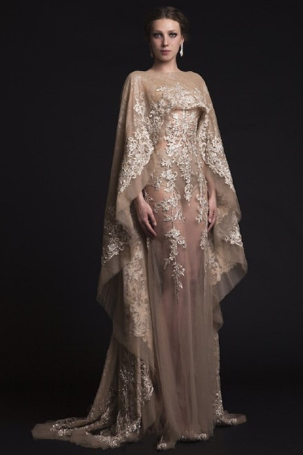 Lace Backless Saudi Arabia Vintage Wedding Dress See Through Middle ...