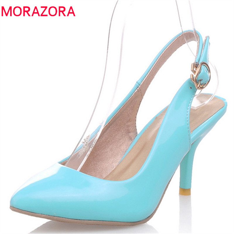 MORAZORA 2019 hot sale fashion women pumps pointed toe summer thin high heels shoes female buckle elegant wedding shoes womanMORAZORA 2019 hot sale fashion women pumps pointed toe summer thin high heels shoes female buckle elegant wedding shoes woman