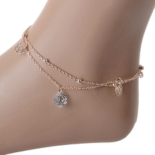 Ladies Women Sexy Rose Double Layer Copper Beach Sandal Ankle Chain Anklet Foot Bracelet Jewelry 5CN7