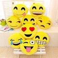 2016 Creativa Emoji Amortiguador de la historieta Cara Sonriente Expresión Ronda Cojines home Almohada de Peluche de juguete de regalo de algodón envío gratis