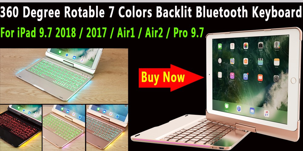360 Degree Rotable 7 Color Backlit Bluetooth Keyboard