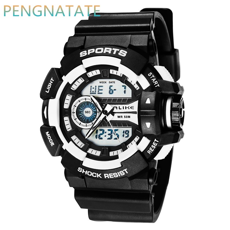 Men Watches ALIKE Men outdoor Sport Watch 50m Waterproof Man Digital Watch Style Quartz Watch Relojes