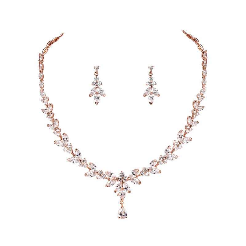 Marquesa Circonia cúbica CZ conjunto de joyería nupcial elegante collar de boda y pendiente regalo para una novia madre esposa