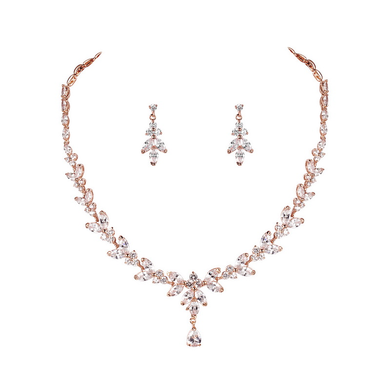 Marquise Cubic Zirconia CZ Bridal Jewelry Set Elegant Wedding Necklace and Earring Gift For a Bride Mother Wife|wedding necklace|jewelry setsnecklace and earrings - AliExpress