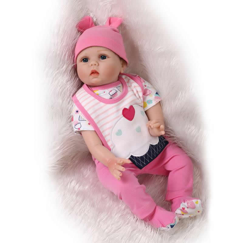 Reborn Baby Doll Silicone Soft 22 Inch Lifelike Handmade Newborn Girl Babies Realistic Alive Dolls Kids Birthday Christmas Gift can sit and lie 22 inch reborn baby doll realistic lifelike silicone newborn babies with pink dress kids birthday christmas gift