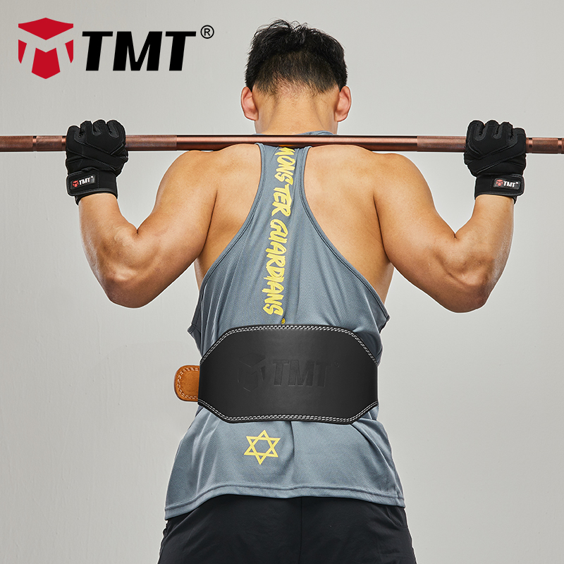 TMT Genuine Leather Weight Lifting Belt Back Support Fitness Waist Belt Gym with Steel Buckle for