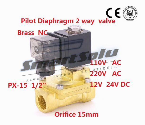 Free shipping Normally Closed 2 way Pilot Diaphragm Brass electric 220v water Solenoid Valve air 1/2 BSP 15mm PX-15 NBR free shipping normally closed solenoid valve 2v025 08 220vac 1 4 high qulity for water air gas 2v sereis two way valve