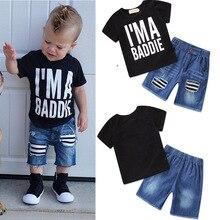 Suit For Boys Children Streetwear USA Fashion Letter Print Tshirt Denim Short Pants 2pcs/Set Baby Boys Summer Clothes