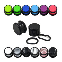 PAIR Acrylic Ear Plugs Stretcher Piercing Assorted Colors Earlets Gauge Piercing O-Rings Ear Piercing Stud Expander Body Jewelry(China)