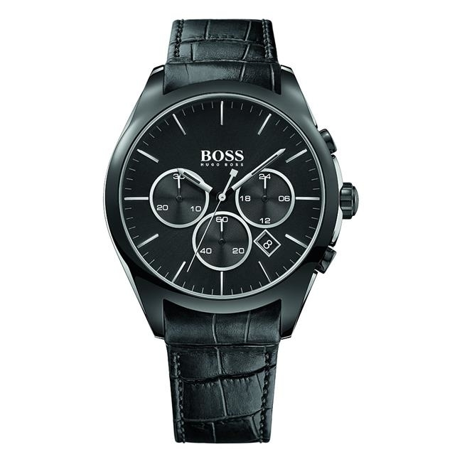 Hugo Boss Leather Chronograph Mens Watch 1513367-in