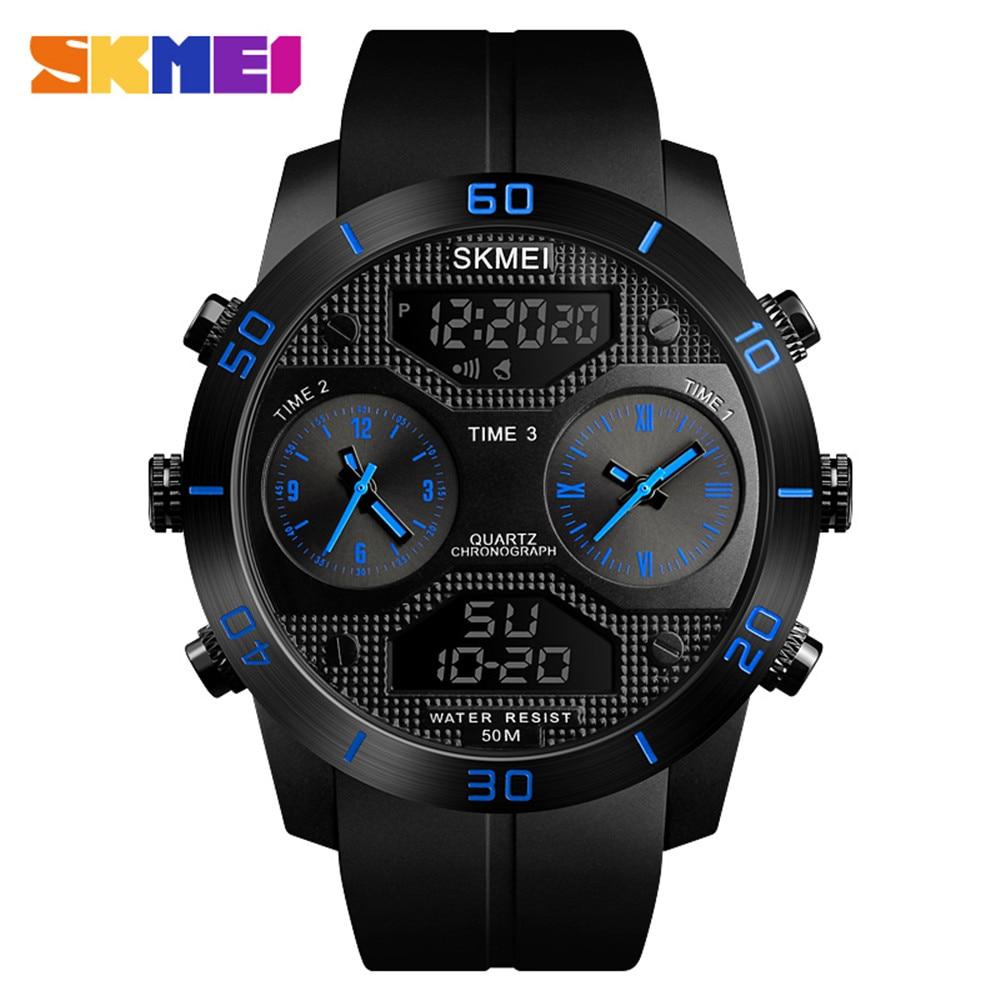 SKMEI Outdoor Sport Watch Men Multifunction LED Digital Wristwatches 5Bar Waterproof Military 3 Time Alarm Clock Relogio 1355
