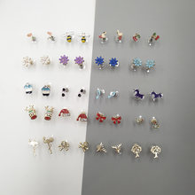 Trendy Cute Kids Cartoon Flower Shell Flamingo Bee Skull Earrings Stud Earrings For Girls Children Gifts Jewelry Christmas(China)