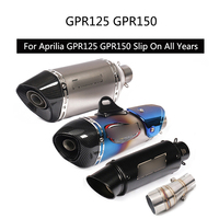 For Aprilia GPR 125 150 Exhaust Pipe Motorcycle Mid Tail Pipe Slip On 51 mm Muffler Middle Link Pipe with Rear Escape Silencer