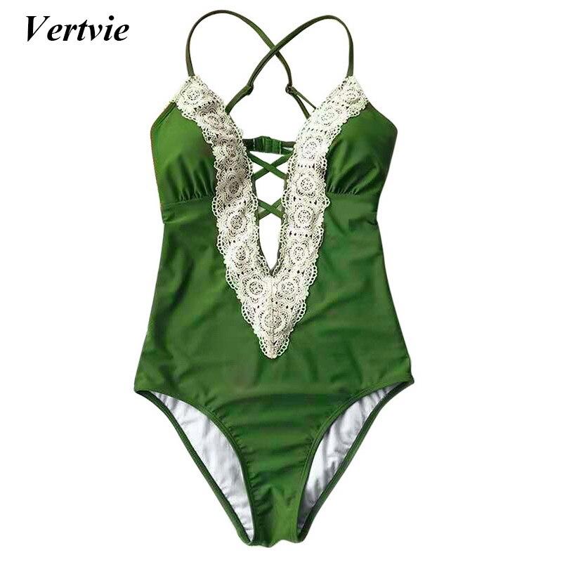 Vertvie Sexy Lace Patchwork Women's Swimwear Bandage Swimsuit Skinny Summer Beach Swimming Suit High Waisted Push Up Beachwear