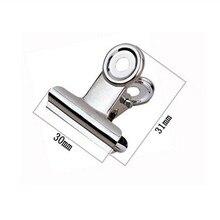 شحن مجاني (60 قطعة/الوحدة) 30 مللي متر قبضة معدنية مستديرة كليب الفضة بلدغ كليب الفولاذ المقاوم للصدأ تذكرة كليب القرطاسية