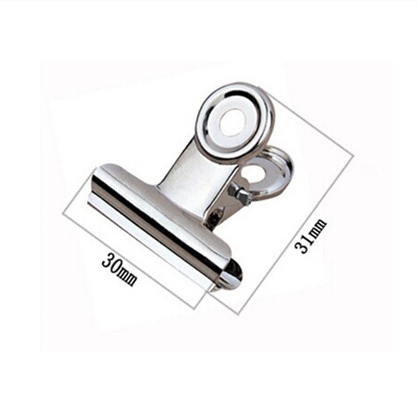 Free Shipping(60pcs/lot) 30mm Round Metal Grip Clips Silver Bulldog Clip Stainless Steel Ticket Clip Stationery