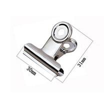 Pinces de poignée rondes en métal 30mm, Clips de bouledogue en argent en acier inoxydable, articles de papeterie, livraison gratuite (60 pièces/lot)
