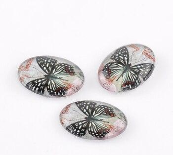 DoreenBeads sellos de cúpula de vidrio cabujones adornos hallazgos Oval Flatback negro diseño de mariposa 18mm x 13mm, 2 uds nuevo
