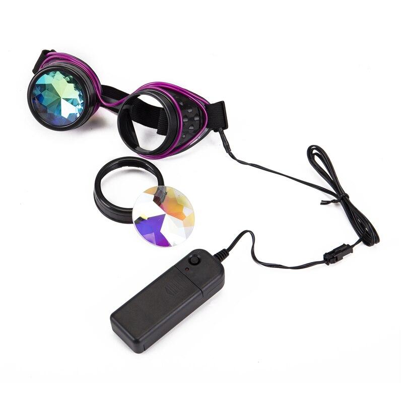 132036205a FLORATA remache Steampunk gafas caleidoscopio lentes de cristal Cosplay gafas  Vintage de las mujeres de los
