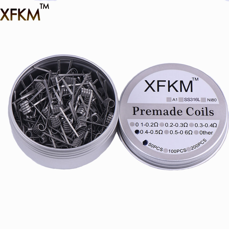 50/100 pcs Flat twisted  Fused clapton coils Hive premade wrap wires Alien Mix twisted Quad Tiger Heating Resistance rda coil emblem