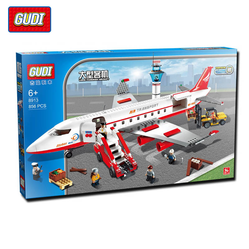 GUDI 856Pcs City Air Plane Large Passenger Aircraft Minifigure Building Block Model Bricks Kids Toys Gifts