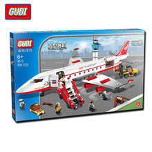 GUDI 856Pcs City Air Plane Large Passenger Aircraft Minifigure Building Block Model Bricks Kids Toys Gifts Compatible With Legoe