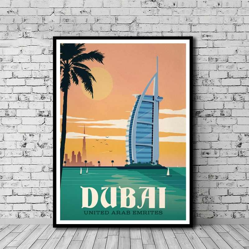 Vintage Dubai Building Landscape Poster Hd Print Canvas Painting Home Decoration Wall Art Picture For Living Room No Frame
